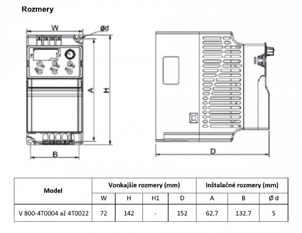 rozměrový výkres frekvenční měnič V800 4T0004-0022