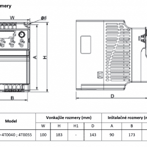 rozměrový výkres frekvenční měnič V800 4T0040-0055