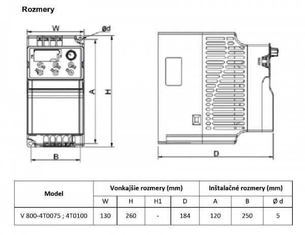 rozměrový výkres frekvenční měnič V800 4T0075-0100