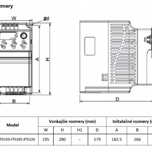 rozměrový výkres frekvenční měnič V800 4T0150-0185-0220