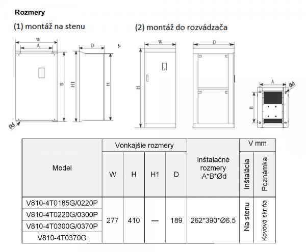 rozměrový výkres frekvenční měnič V810 4T0220P-0370G