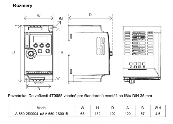 rozměrový výkres frekvenční menič A550 2S0004, 2S0015