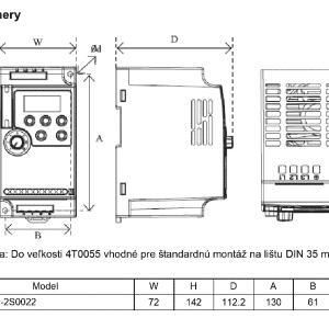 rozměrový výkres frekvenční menič A550 2S0022