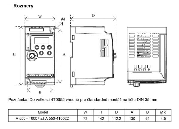 rozměrový výkres frekvenční měnič A550 4T0007-0022