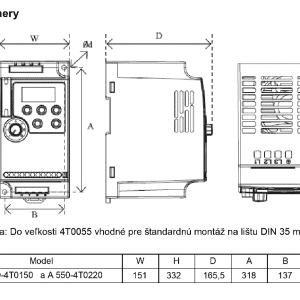 rozměrový výkres frekvenční měnič A550 4T0150-0220