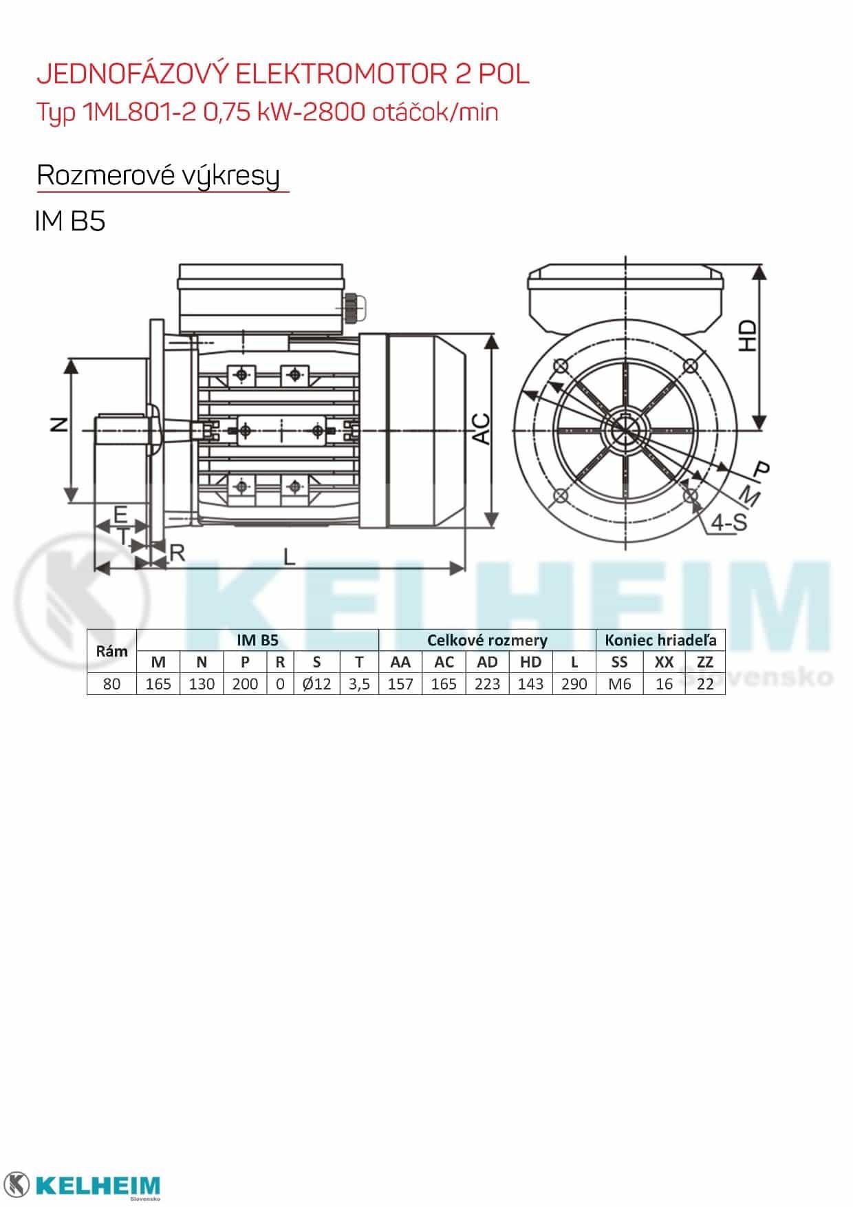 rozměrový výkres - jednofázový elektromotor 0,75kw