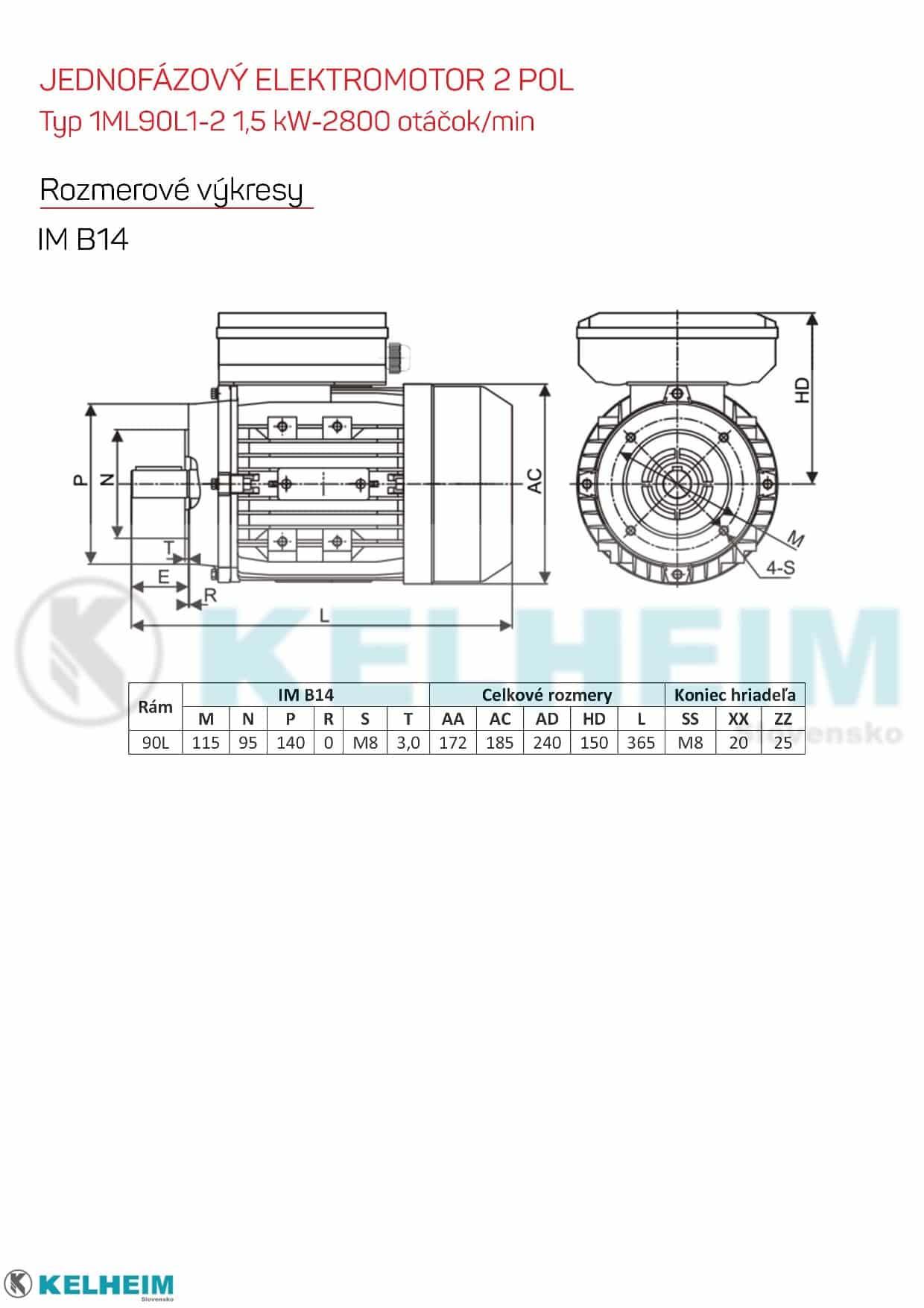 rozměrový výkres - jednofázový elektromotor 1,5kw