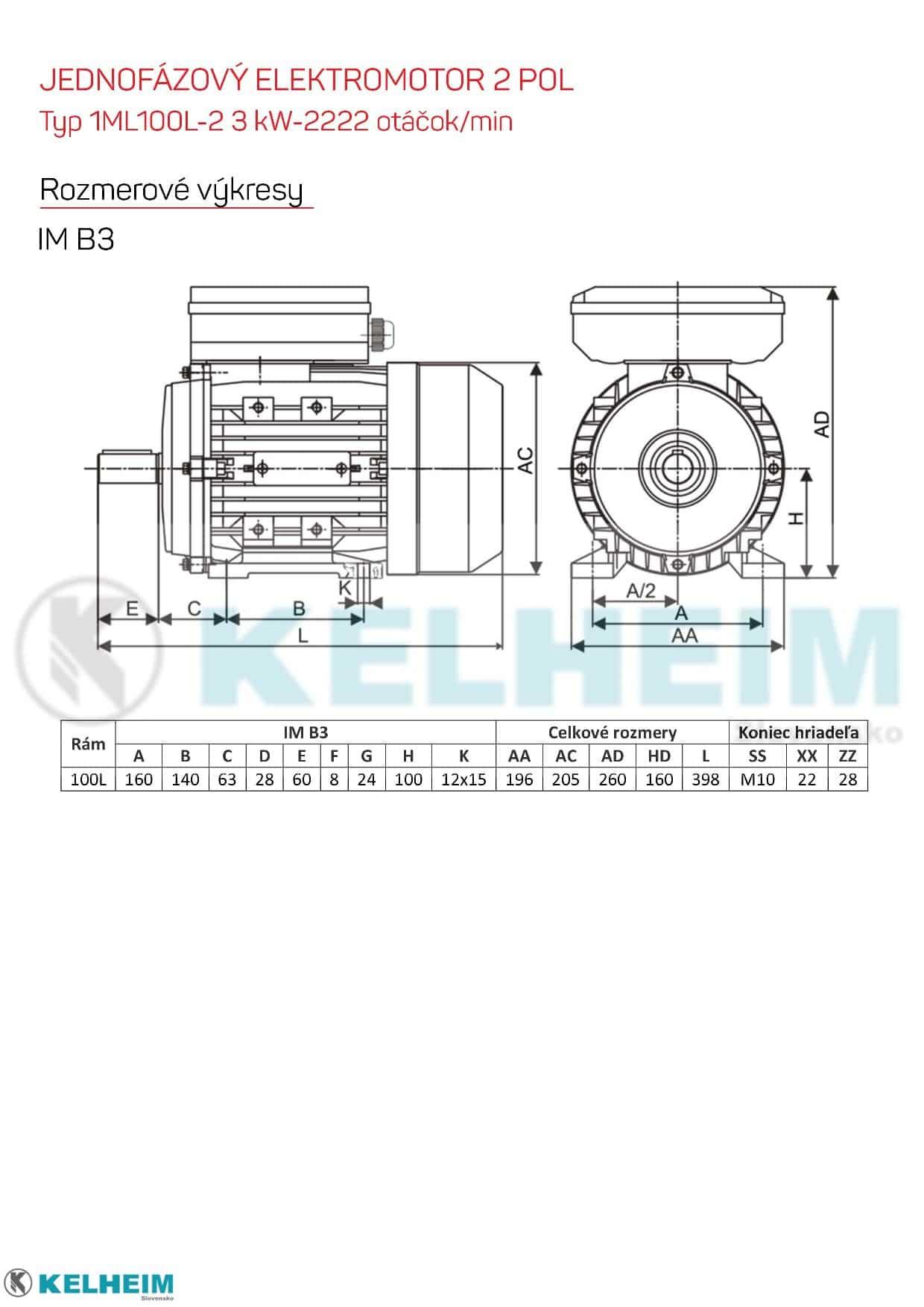 rozměrový výkres - jednofázový elektromotor 3kw