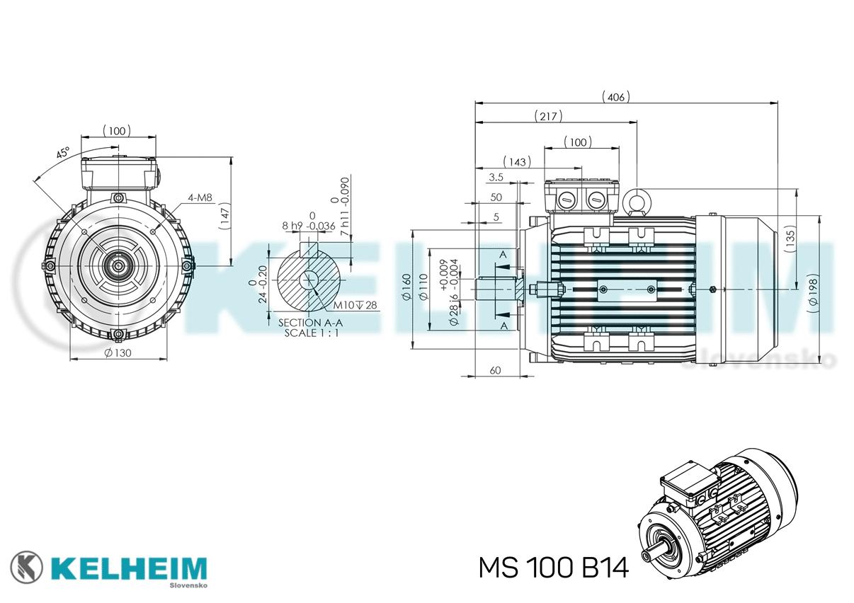 rozměrový výkres MS100B14