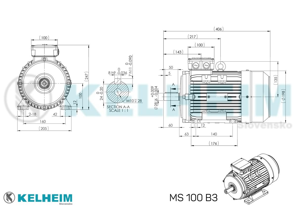rozměrový výkres MS100B3