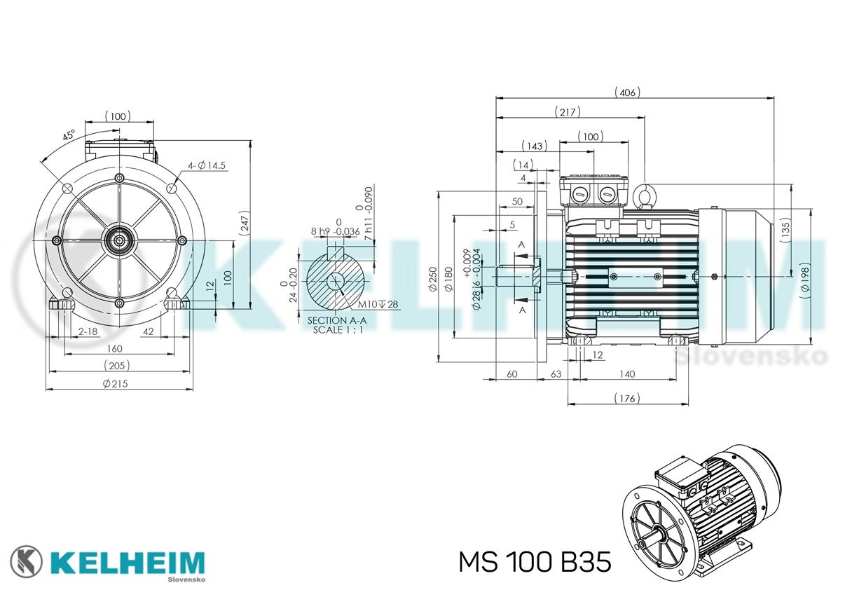 rozměrový výkres MS100B35