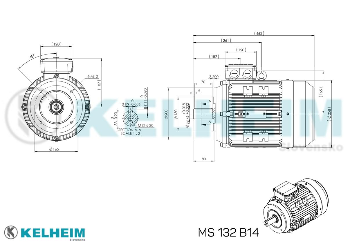 rozměrový výkres MS132B14