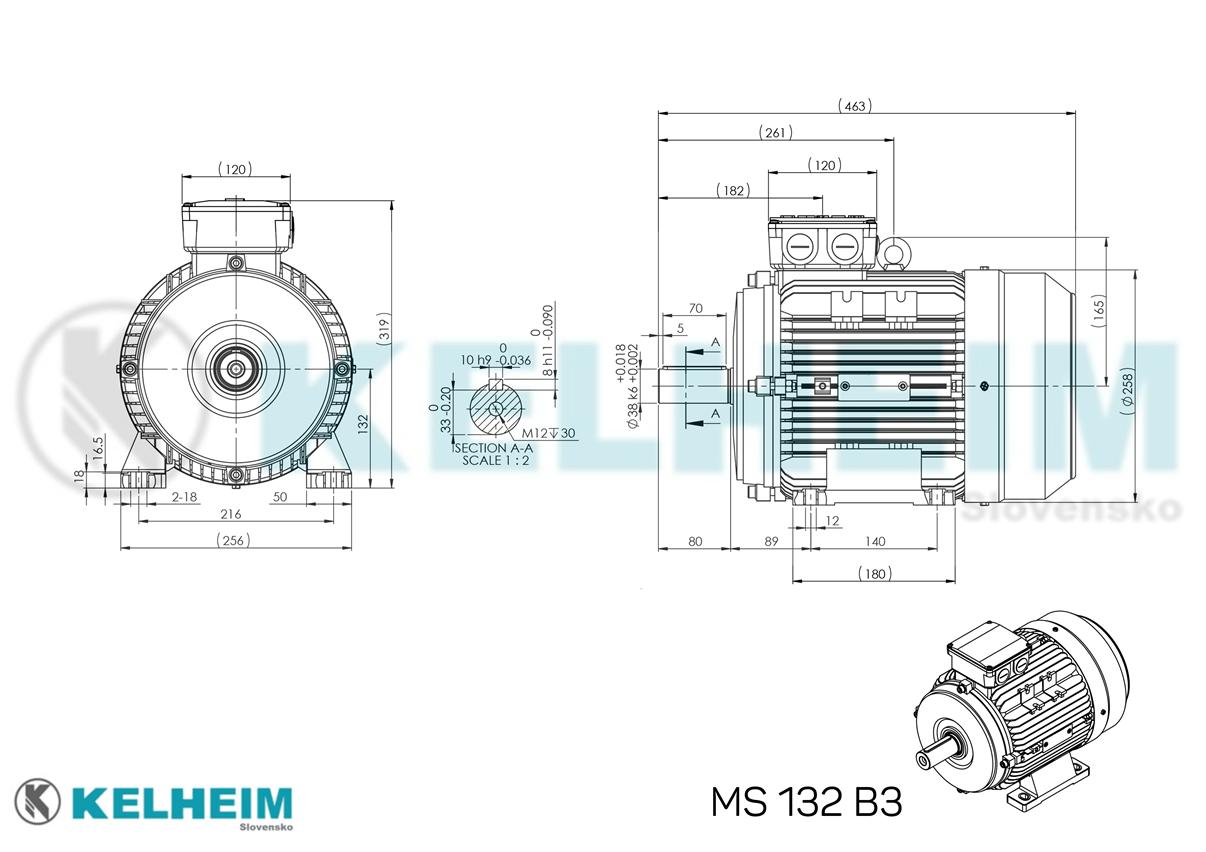rozměrový výkres MS132B3