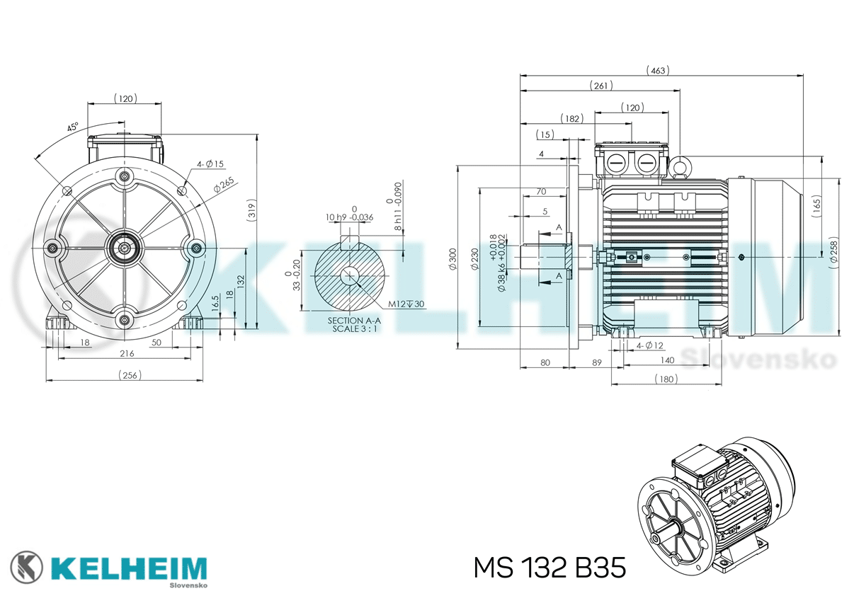 rozměrový výkres MS132B35