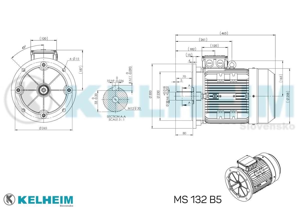 rozměrový výkres MS132B5