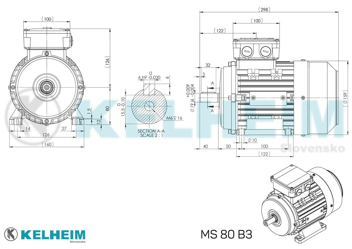 rozměrový výkres MS80B3