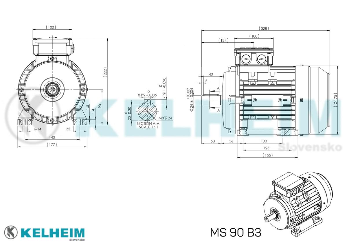 rozměrový výkres MS90B3