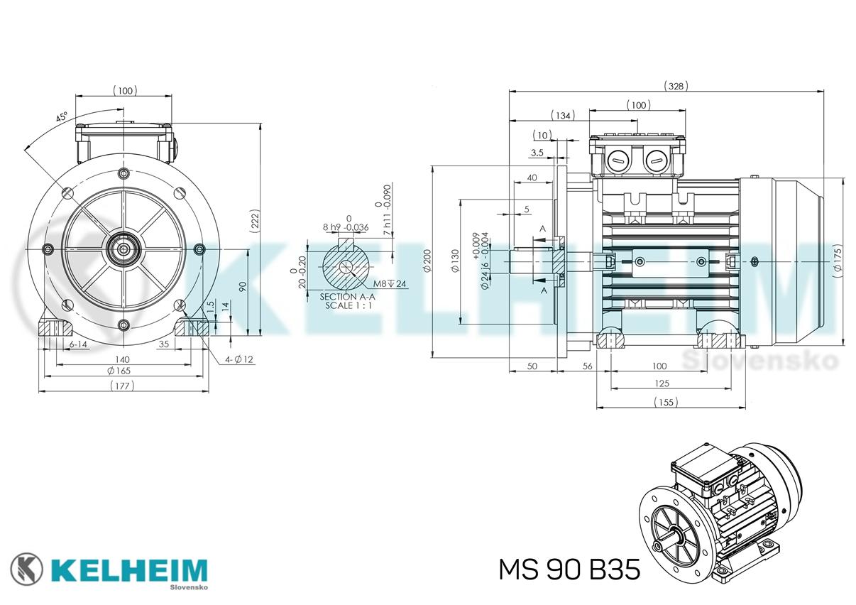 rozměrový výkres MS90B35
