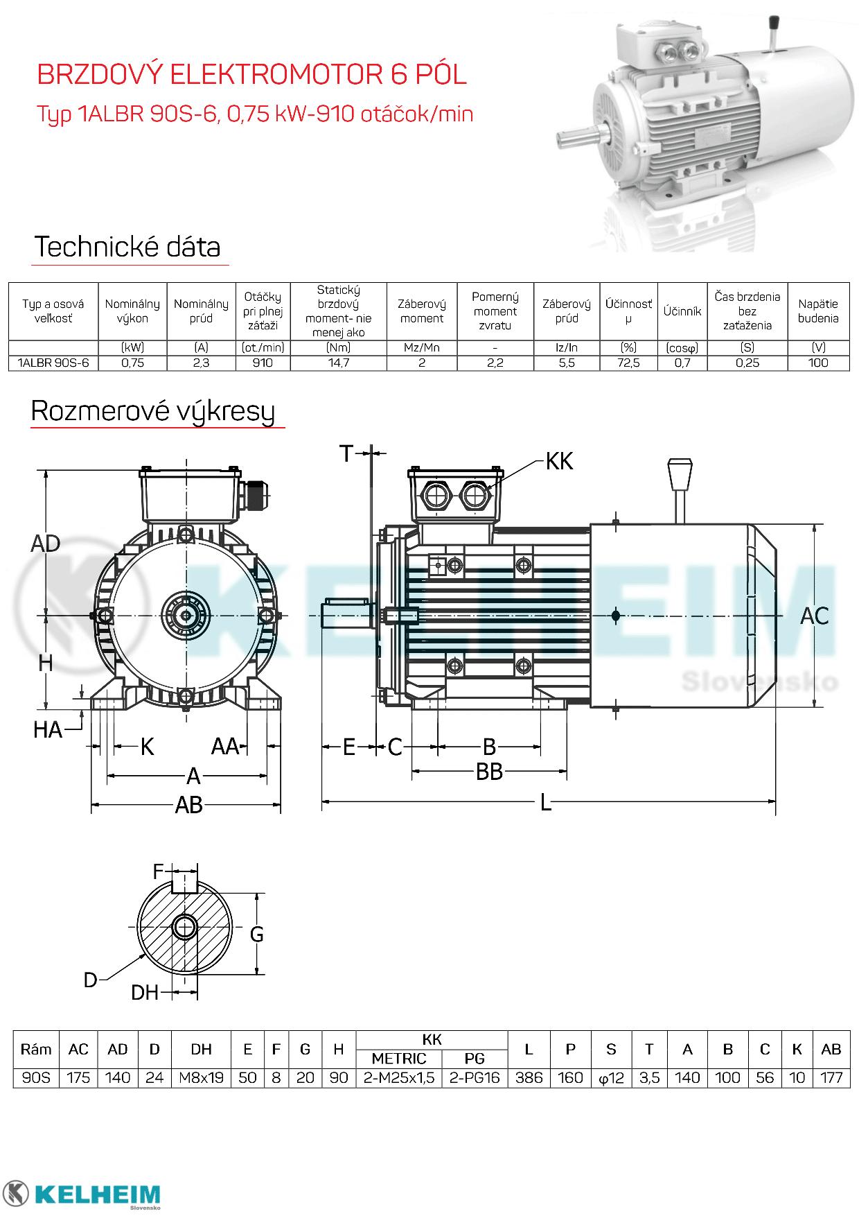 rozměrový výkres - elektromotor s brzdou 0,75kw