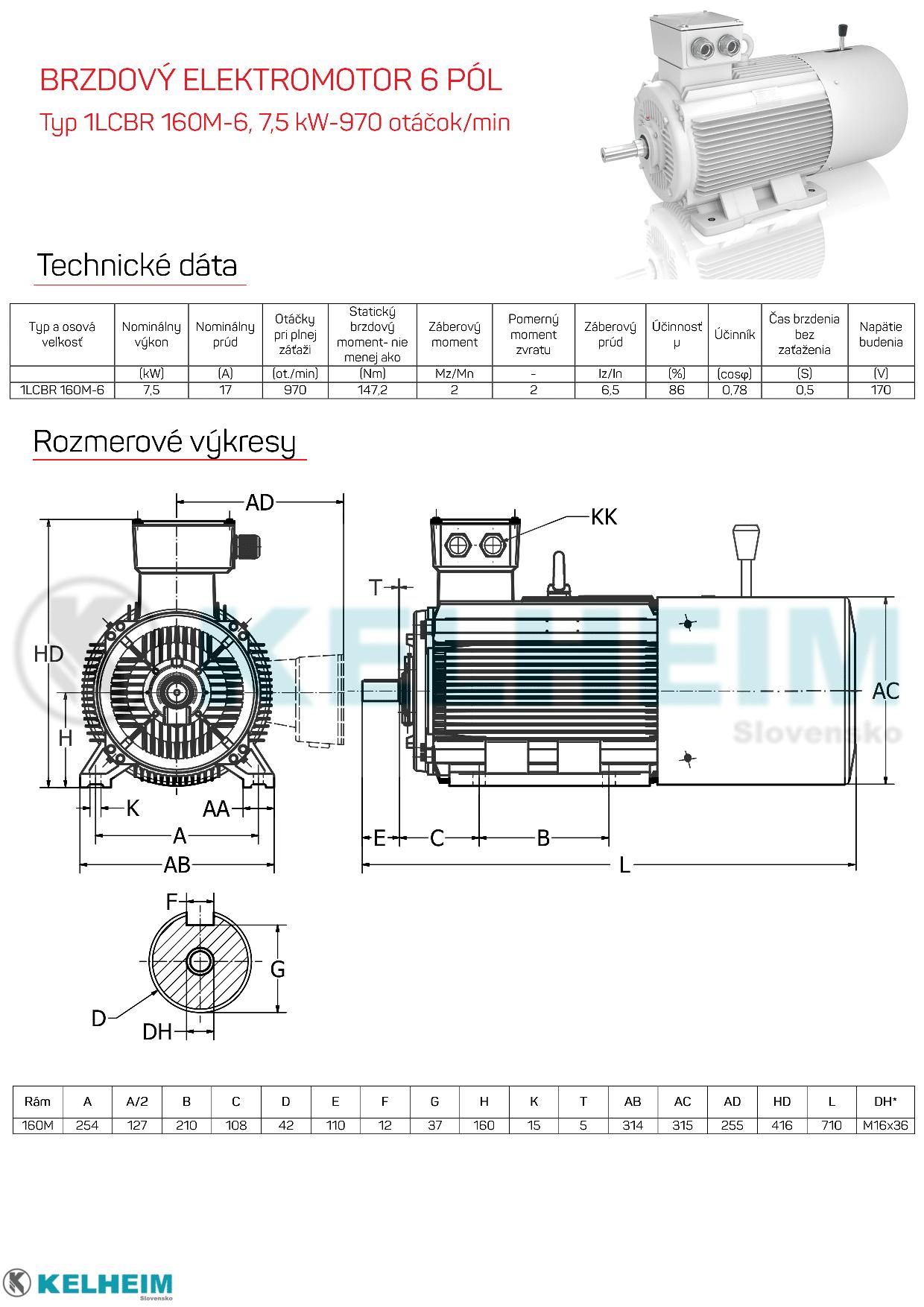 rozměrový výkres - elektromotor s brzdou 7,5kw