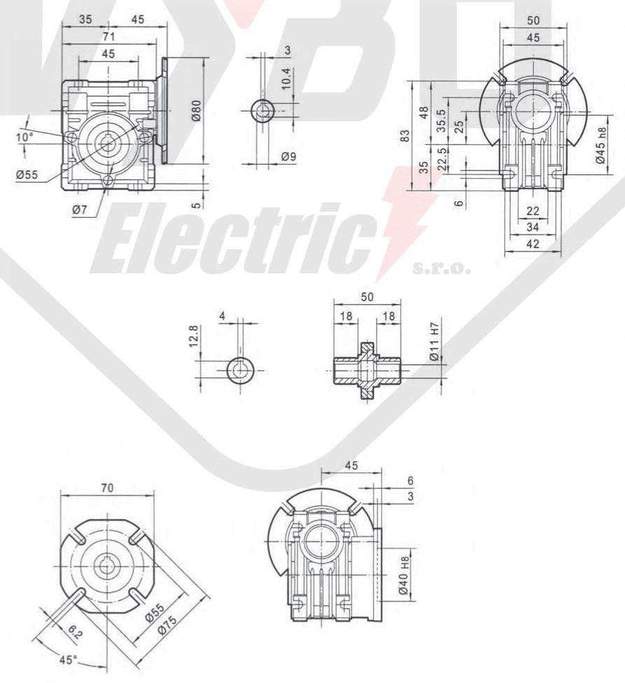 rozměry šneková převodovka PMRV25