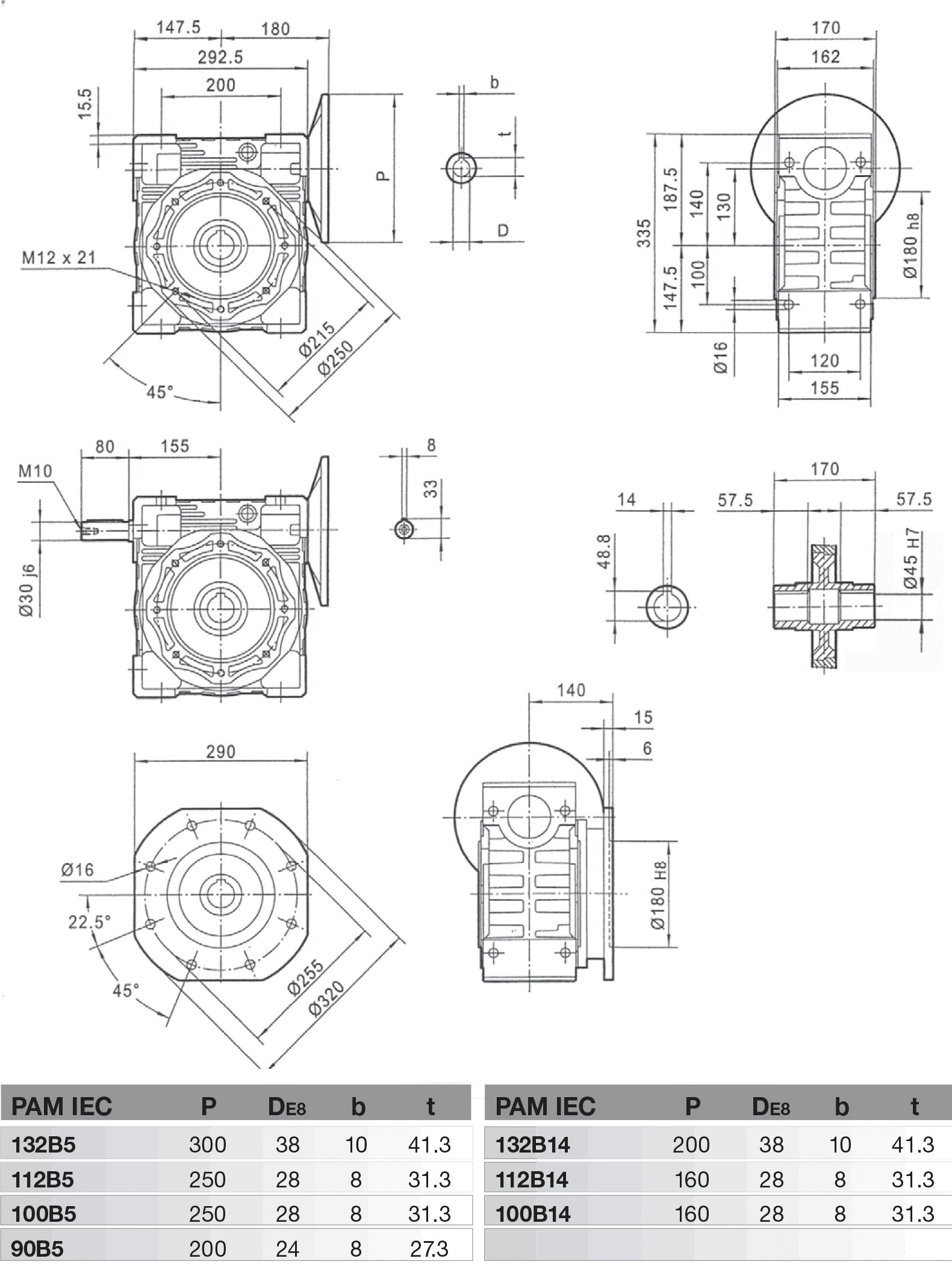 rozměry šneková převodovka PMRV130