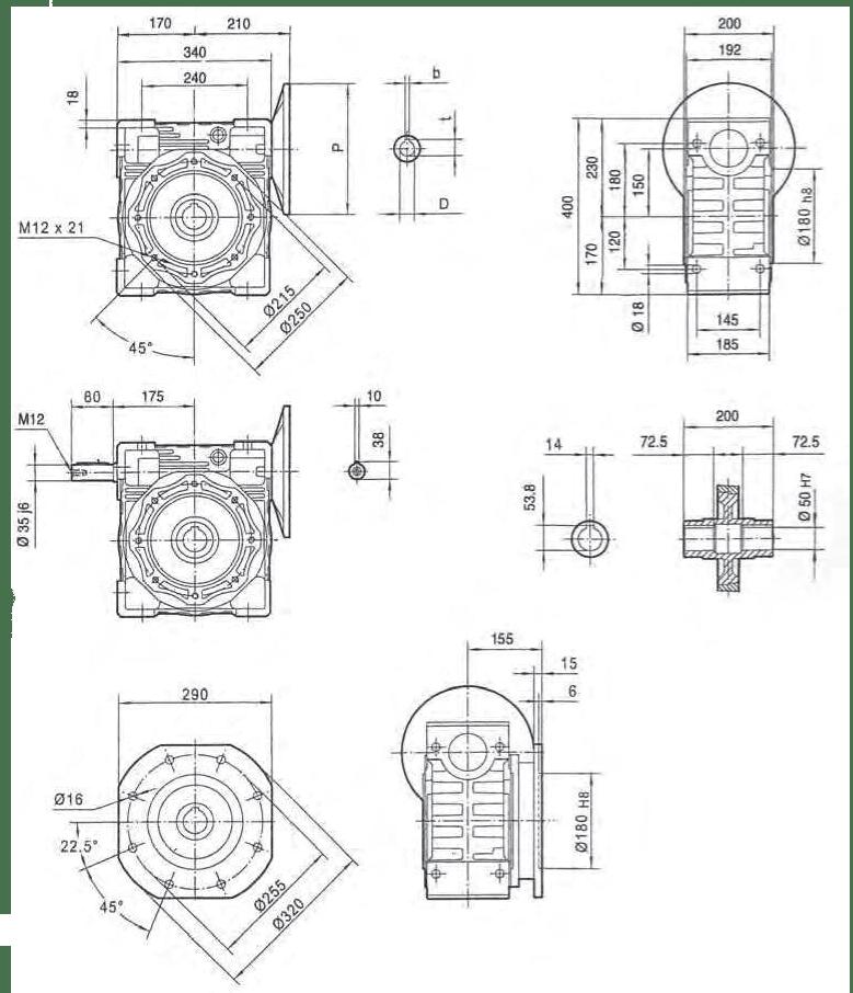 rozměry šneková převodovka PMRV150