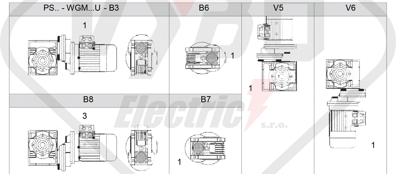 montážní polohy čelní mezipřevodovka PS063