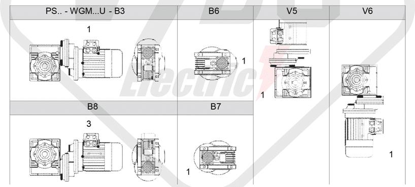montážní polohy čelní mezipřevodovka PS080