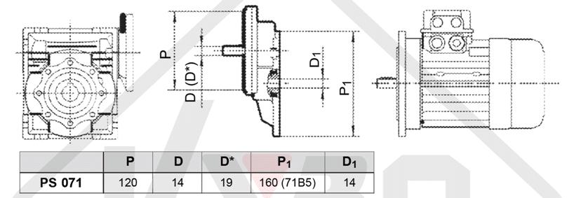 rozměrový výkres čelní mezipřevodovka PS071