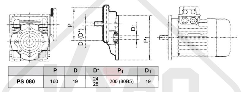 rozměrový výkres čelní mezipřevodovka PS080