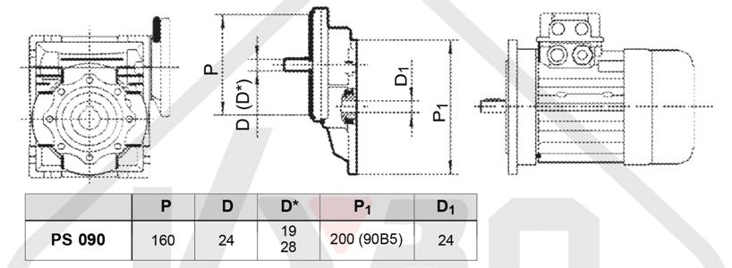 rozmerový výkres čelní mezipřevodovka PS090
