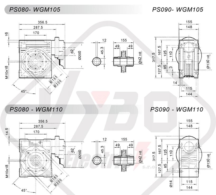 schémy zapojení čelní mezipřevodovka PS080