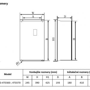 rozměrový výkres frekvenční měnič V800 4T0300-0370