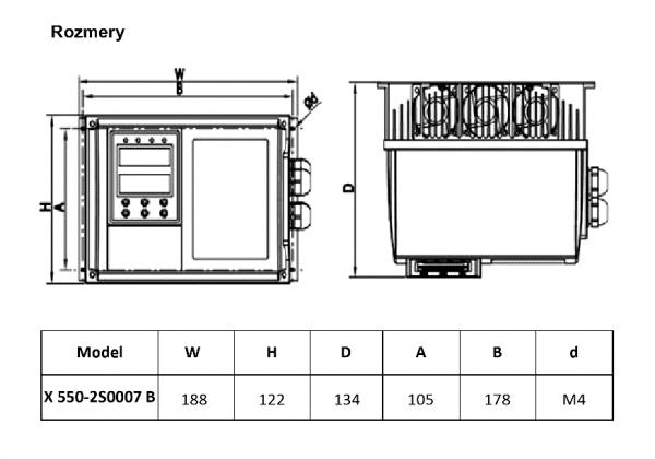rozměrový výkres frekvenční měnič X550 2S0007