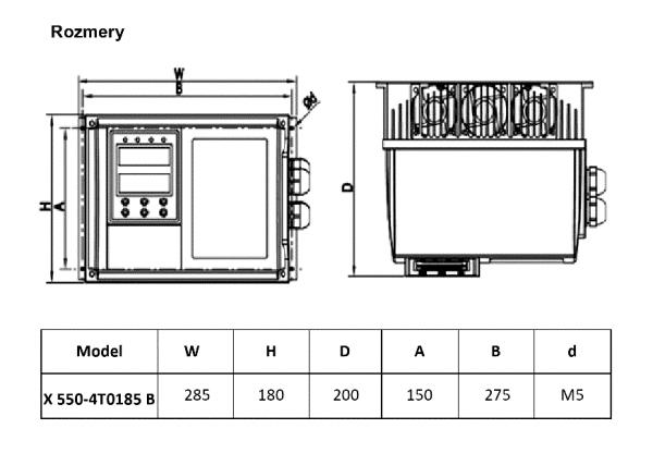 rozměrový výkres frekvenční měnič X550 4T0185
