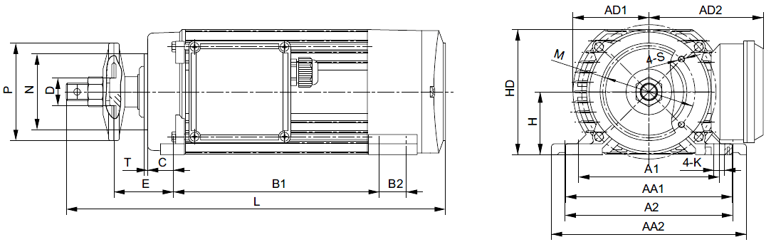 rozměrový výkres pilové elektromotory hliníkové