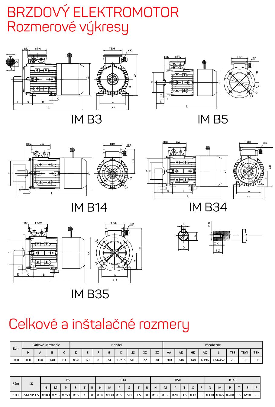 rozměrový výkres brzdové elektromotory rám 100