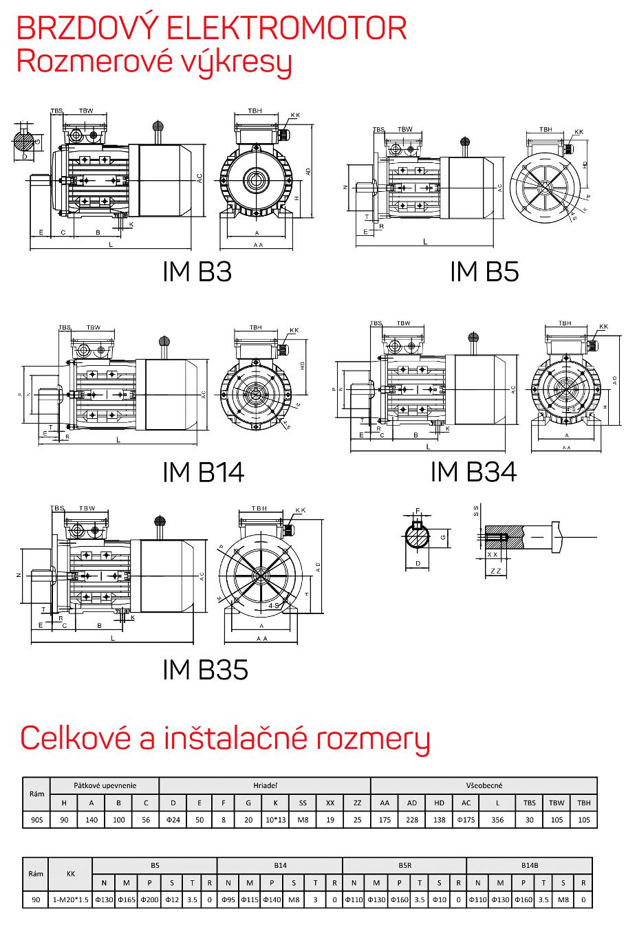 rozměrový výkres brzdové elektromotory rám 90S